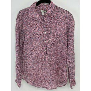 J Crew Floral Half Button Up Top Pink Lightweight